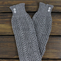 Women's Boot Socks: Legwarmers, Knee High Socks, Lacy Boot Cuffs, Gray Legwarmers, Womens Legwarmers, Open Knit, Ivory, Gray Boot Socks