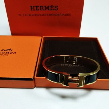 Authentic HERMES Classic Enamel Bangle 18K Gold Clic Clac H Bracelet Black PM