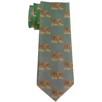 DCCKU3R Christmas Gingerbread Man Bite Me Funny All Over Neck Tie