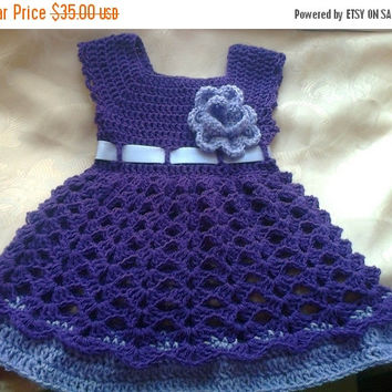 ON SALE Baby Girl Dress - flower girl dress - handmade baby dress - purple dress - new baby gift - crochet baby dress - baby girl outfit