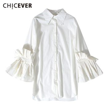 Women Pleated Ruffles Flared Cuff Female T Shirt For Women Long Sleeve Fold-over Collar Fashion Single Breasted