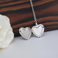 Silver Heart Locket Necklace. Romantic Heart Pendant Locket. Love gift. Simple Heart Photo Locket Necklace