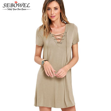 Lace-Up Neck Swing  Dress Casual With Short Sleeves For T Shirt Dress Short V-Neck Skater Mini Dress 22671 SM6