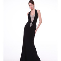 Black Illusion Deep V-Neck Halter Dress 2015 Prom Dresses