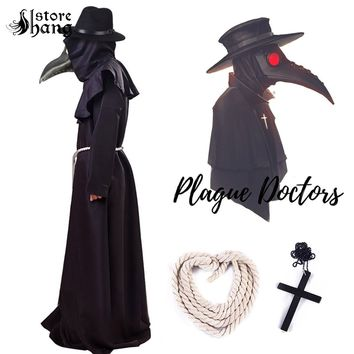 Plague Doctor Medieval Hooded Robe Mask Hat Costume