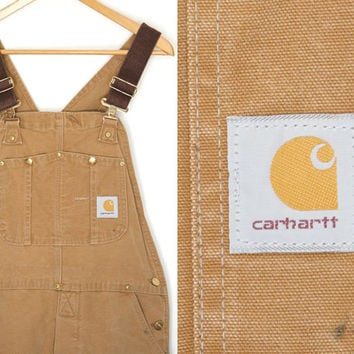 Vintage Carhartt bib overalls. Canvas overalls. Mens work pants. Denim overalls. Grunge. Cotton overalls. Made in U.S.A. Men's 36x32.