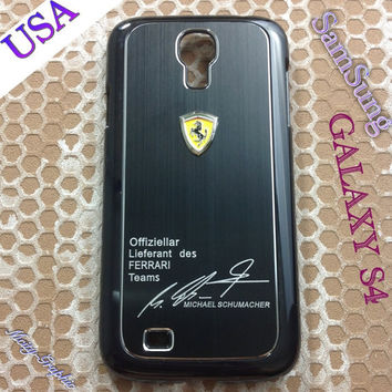 Ferrari Samsung Galaxy S4 Case Ferrari 3D metal Logo Premium Cover for S4 / i9500 - Black