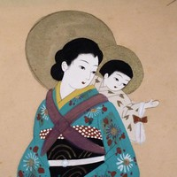 Japanese Madonna & Child with Shadow Crucifixion