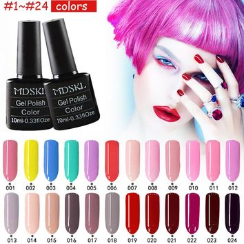 MDSKL 3D Glitter Nail Nail Art Manicure LED 10ML High Quality Candy Color Nail Gel Long Lasting Shining Gel 24 Colors