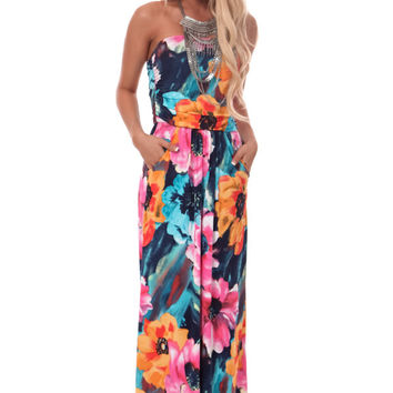 Navy and Pink Floral Print Strapless Maxi Dress