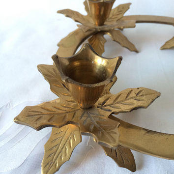 Brass Candle Holder, Holly Leaf Ring, Holiday Table Decor, 4 Candle Ring, Heavy Indian Brass, Vintage Holiday,  Centerpiece Candle,