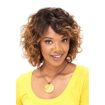 HUMAN HAIR FULL WIG, SHORT WAVY CURL (MOON)
