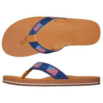 Men's American Flag Needlepoint Flip Flops in Classic Navy by Smathers & Branson