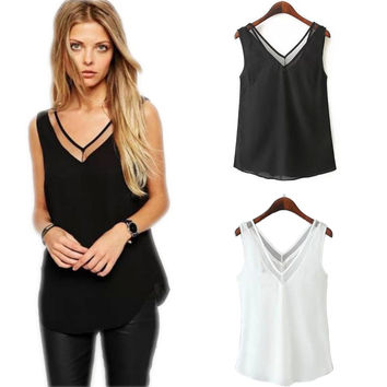 Hot Sale Casual Women's Fashion V-neck Vest Summer Chiffon Patchwork Sleeveless Tops T-shirts [4970309444]