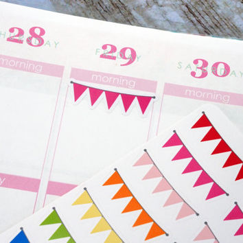 Rainbow Bunting Banner Life Planner Die-Cut Stickers! Set of 66 Perfect for Erin Condren, Limelife, Plum Paper, Kikki, or Filofax Planners!