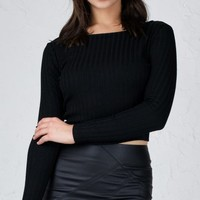 ANGL | Ribbed Knit Roundneck Long Sleeve Crop Top