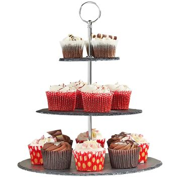 VonShef 3 Tier Natural Slate Serving/Cake Stand with Silver Carry Handle - Great For Use At Parties To Hold Cupcakes, Cakes, Cookies, Tapas or Cheese - Perfect For Displaying Halloween Treats