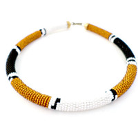 Maasia beaded choker fair trade tribal necklace bohemian African jewelry gift for mom sister friend Kenya, fair trade white brown brass hook
