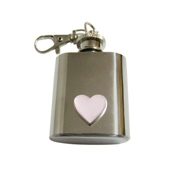 Pink Heart Love 1 Oz. Stainless Steel Key Chain Flask