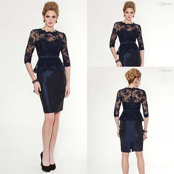 2016  Hot  Navy Blue half Sleeve Lace with Taffeta Knee Length Cocktail Dresses Party Dresses Short Mother of the Bride Dress