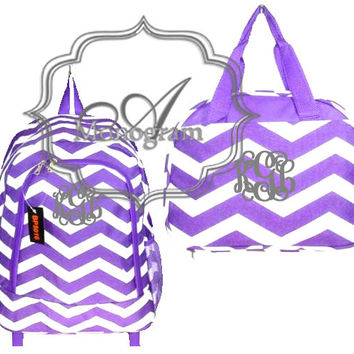 Monogrammed Purple Chevron Backpack and Lunch bag
