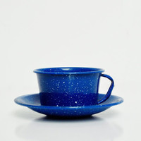 Vintage Tin Cup and Saucer - Navy Blue with Speckles