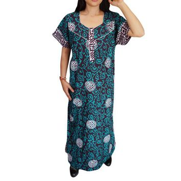 Mogul Womens Caftan Nightgown Printed Boho Maxi Housewear Sleepwear Evening Cotton Kaftan - Walmart.com