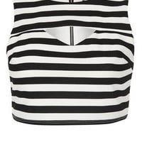 Petite Stripe Cut Out Crop Top - Petite Tops - Petite  - Clothing