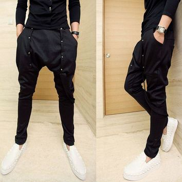 Men nightclub hip hop punk harem pants drop crotch baggy homme men's harajuku elastic skinny pants stage performance joggers