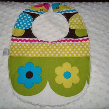 Baby girl bib Snap Bib Designer fabric by Michael Miller on top and a white chenille on the back