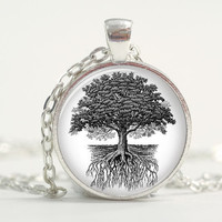 Pendant with Chain - Tree and roots