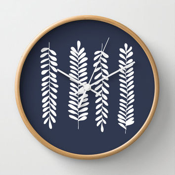Nautical Fern Leaves Navy Wall Clock, foliage illustration rustic home decor, unique wall clock