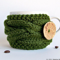 Green Cup Cozy - Coffee Cozy - Cup Cosy - Easter Spring - Wood Woodland Forest Avocado Nature Pine - St Patricks Day - St Patrick