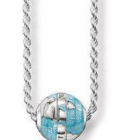 Design Karma Loose Bead Earth Charm Pendant Silver Chain Necklace
