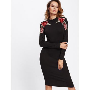 Embroidered Rose Patch Form Fitting Dress