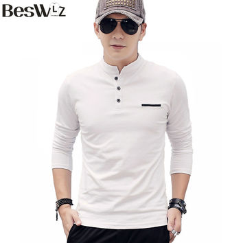 Beswlz Men's T-shirt Long Sleeve Cotton Slim Men Tops T Shirts Autumn Winter Fashion Casual Style Tees Shirts Homme 7951