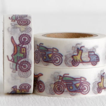 Scooter, Motorcycle, Dirtbike Washi Tape, Motorsports Motocross 15mm
