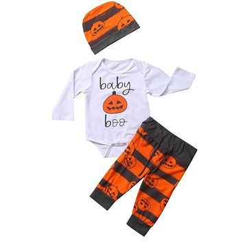 Halloween Set Newborn Baby Girl Boy Tops Romper Long Pants Hat Outfits Clothes Halloween Gift For Boys And Girls