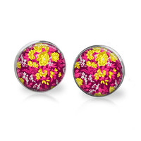 Glass Floral Earrings Fuchsia Orchid Yellow Gold Flower Print Post Earrings Boho Hip Beach Resin Studs Floral Jewelry Spring Earrings Summer
