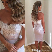 2017 Short Becch Summer Prom Dresses Off Shoulder Beaded Sleeveless Lace Appliques Knee Length Foral Homecoming Party Dress EG9