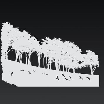Oak trees silhouette- forest stencil