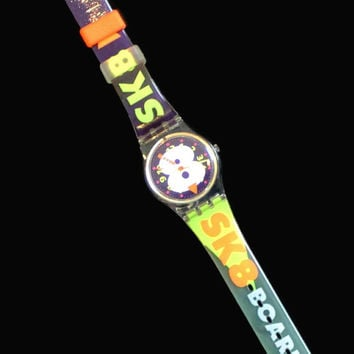 Vintage Swatch Watch, Snow Collage Swatch Watch, 1990's Swatch Watch, Retro Watch, Swatch Watch