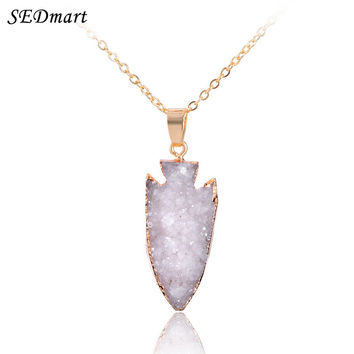 Natural Arrow Shape Druzy Geode Quartz Pendant Necklace For Women Healing Gem Stone Drusy Cluster Raw Stone Necklaces