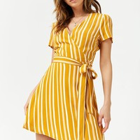 Striped Surplice Wrap Dress
