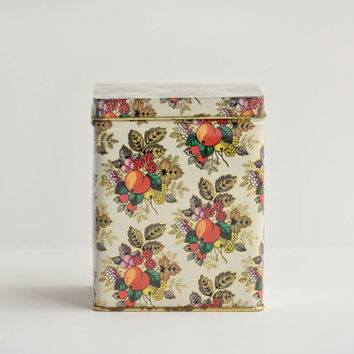Vintage White Tin with Fruit Pattern - Floral Design - Made in England