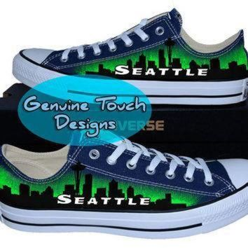 LMFON hand painted converse seattle skyline space needle custom converse birthday gifts