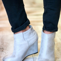 Close Out   Distressed Wedge Bootie   Grey   Shoes