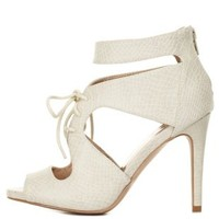 Stone Snake-Textured Cut-Out Lace-Up Heels by Charlotte Russe