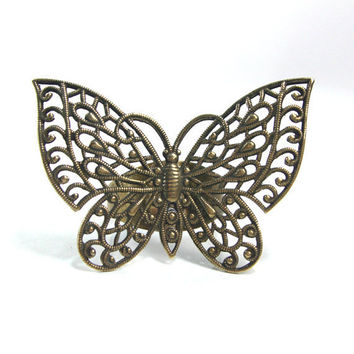 Butterfly ring handmade filigree 3D brass by AndreaBacmanJewelry
