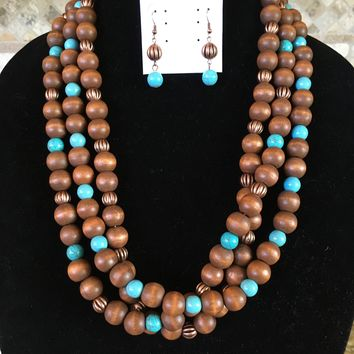 Ethel & Myrtle's Copper, Brown and Turquoise three (3) row wooden bead necklace and earring